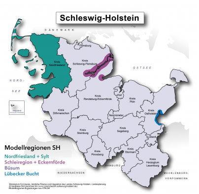 Landkarte der Modellprojekte Schleswig-Holstein